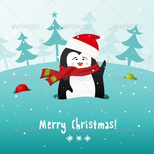 GraphicRiver Christmas Penguin Vector Background 5903306