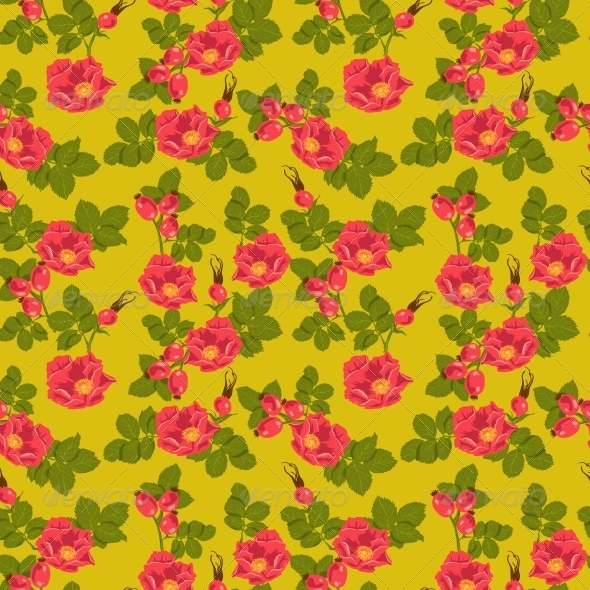 GraphicRiver Seamless Floral Background with Wild Rose 5904157