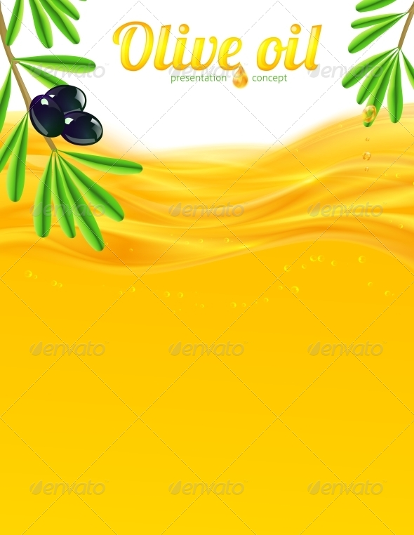 GraphicRiver Olive Oil and Branches Vector Background 5905339
