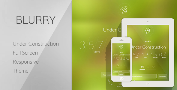 ThemeForest BLURRY Under Construction Theme 5906494