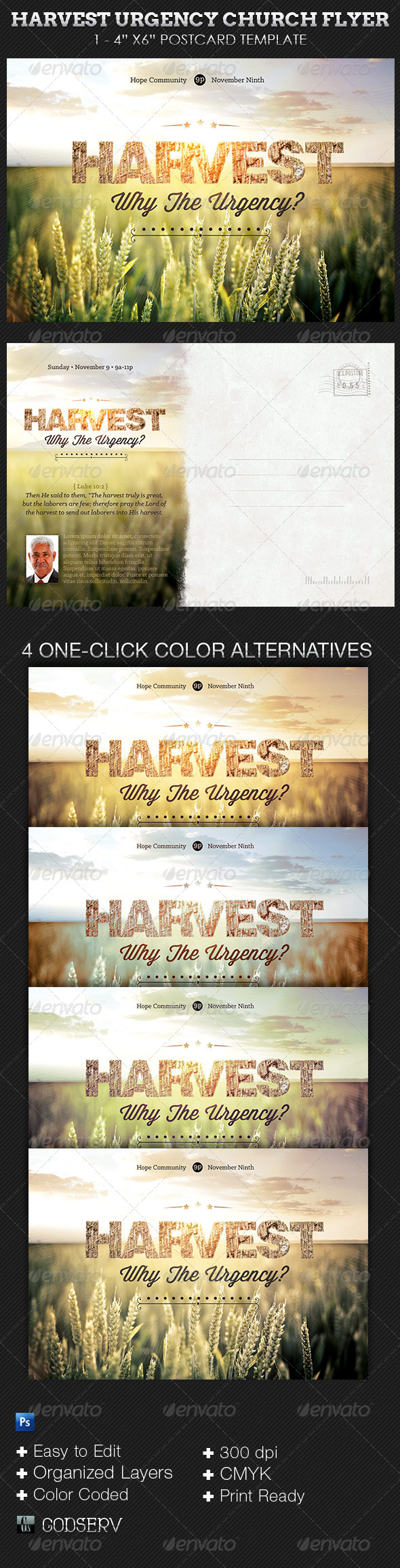 Harvest Urgency Church Flyer and Postcard Template - Church Flyers