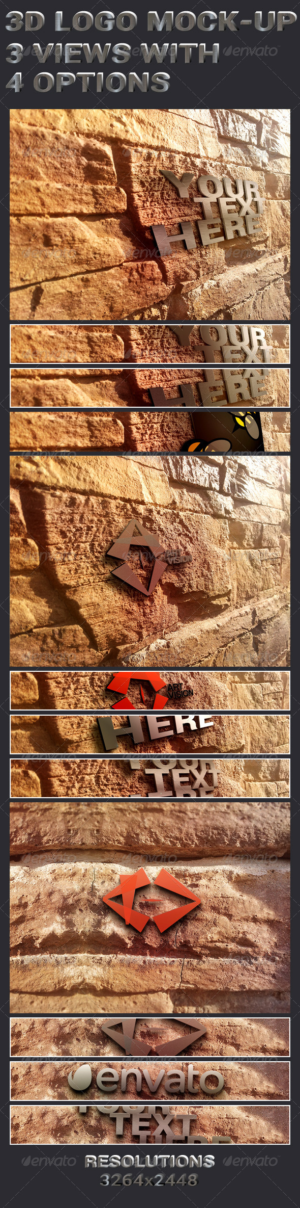 GraphicRiver 3D Logo In Wall Mock-Ups 5871262