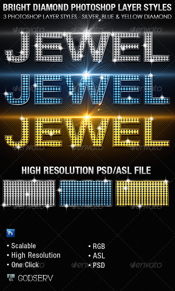 GraphicRiver Bright Diamond Photoshop Layer Styles 5909756