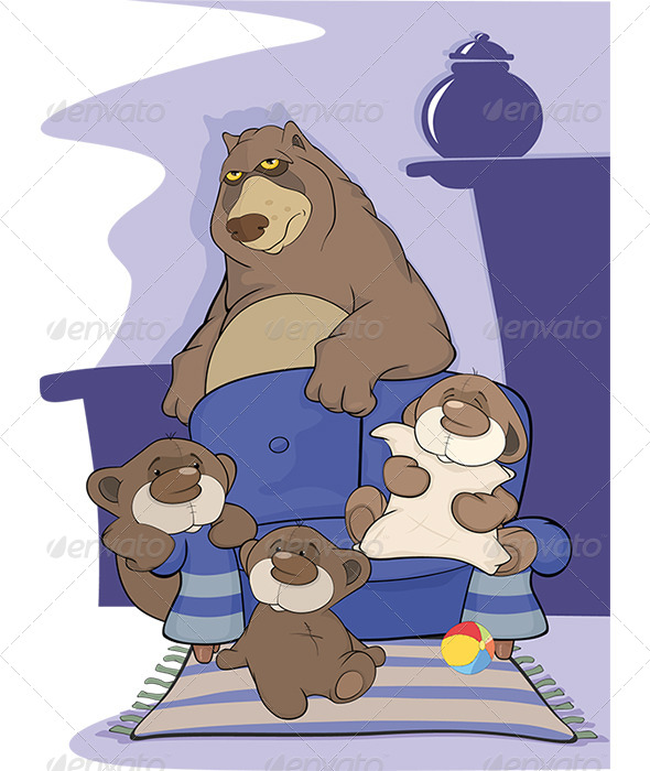 GraphicRiver Big Bear Family Cartoon 5911396