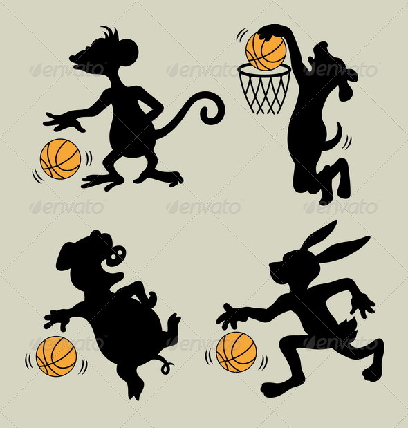 Animal Playing Basketball Silhouettes - Sports/Activity Conceptual