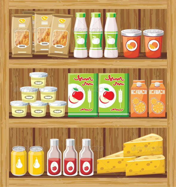 GraphicRiver Supermarket Shelfs with Food 5912146