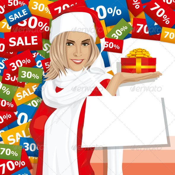 GraphicRiver Vector Woman Waiting for Christmas 5913084