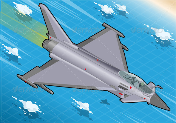 GraphicRiver Isometric Eurofighter in Flight in Front View 5915598