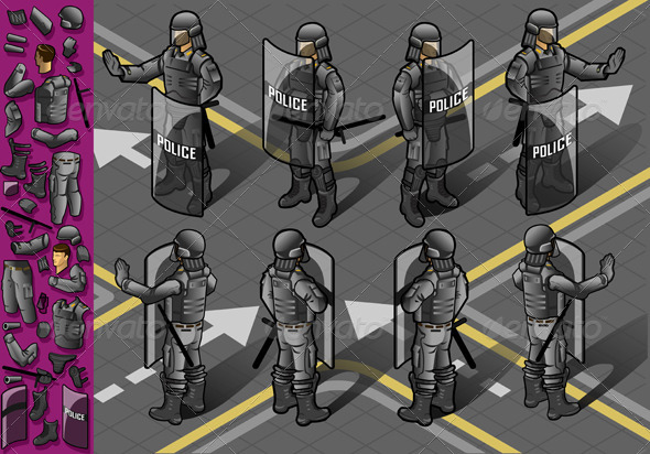 GraphicRiver Isometric Set of Eight Standing Policeman 5916017