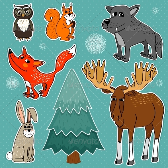 GraphicRiver Winter Forest Animals 5917029
