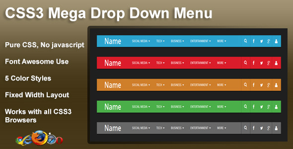 CodeCanyon CSS3 Mega Drop Down Menu 5909185
