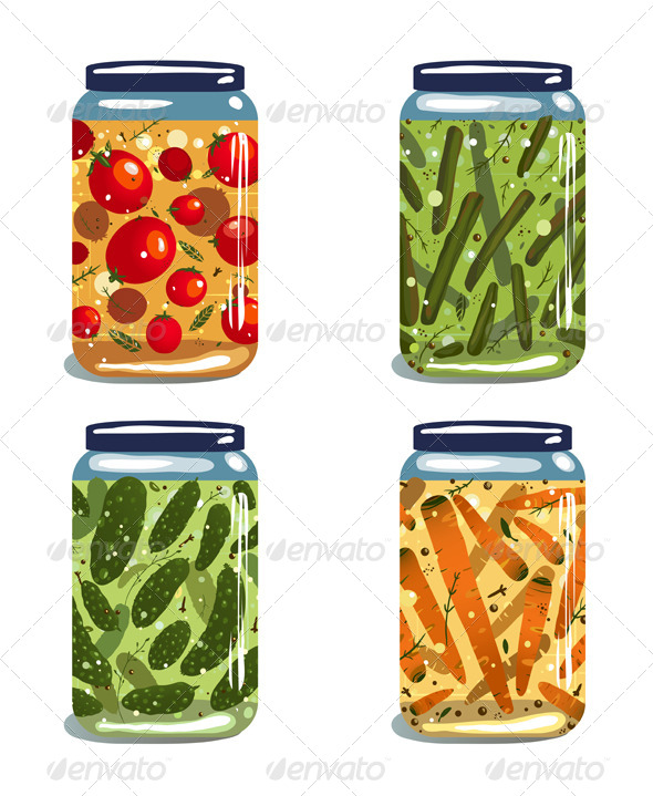 GraphicRiver Bright Canned Pickled Vegetables Collection 5917366