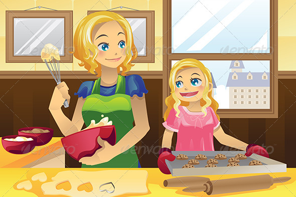 GraphicRiver Mother Daughter Baking Cookies 5920601