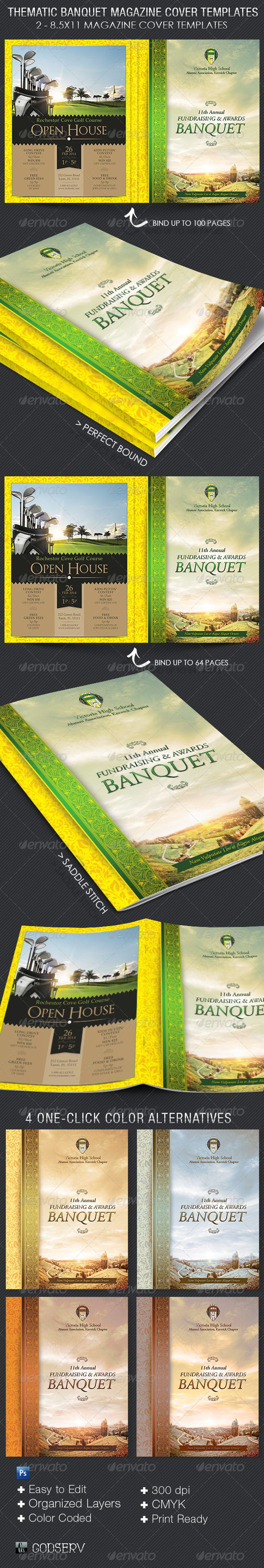 Thematic Banquet Magazine Cover Template - Magazines Print Templates