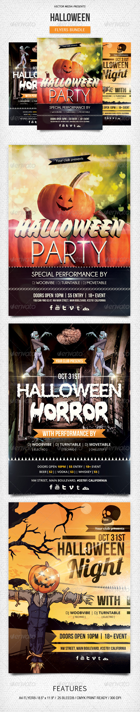 GraphicRiver Halloween Flyers Bundle 5921504