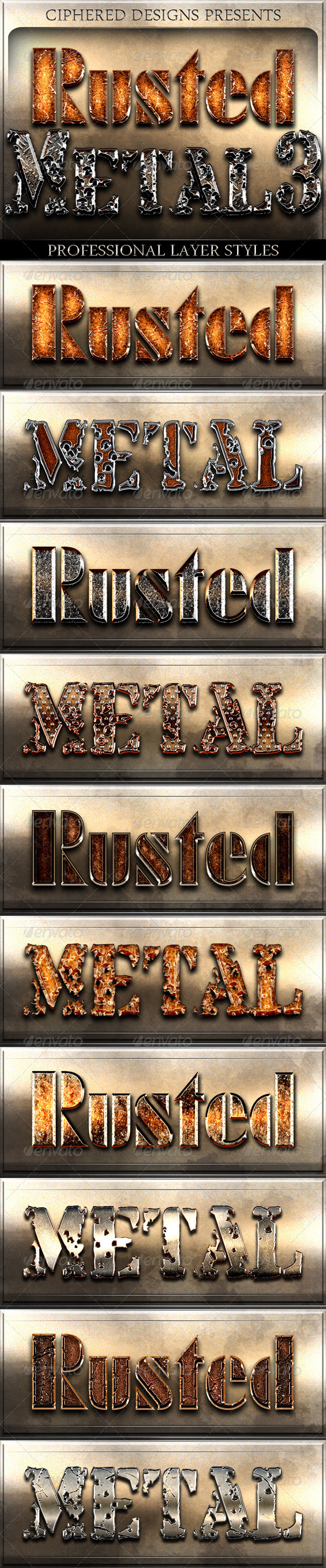 GraphicRiver Rusted Metal 3 Professional Layer Styles 5921731