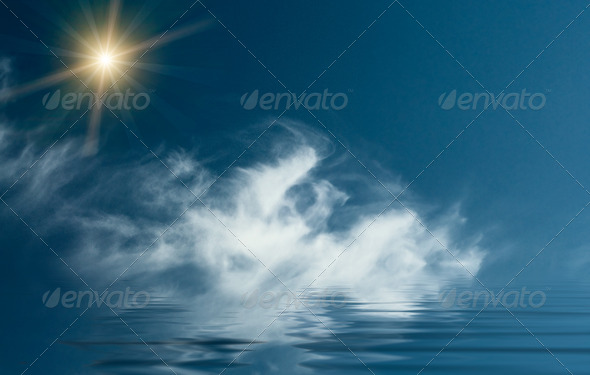 Unusually sunbeams above blue ocean. - Stock Photo - Images
