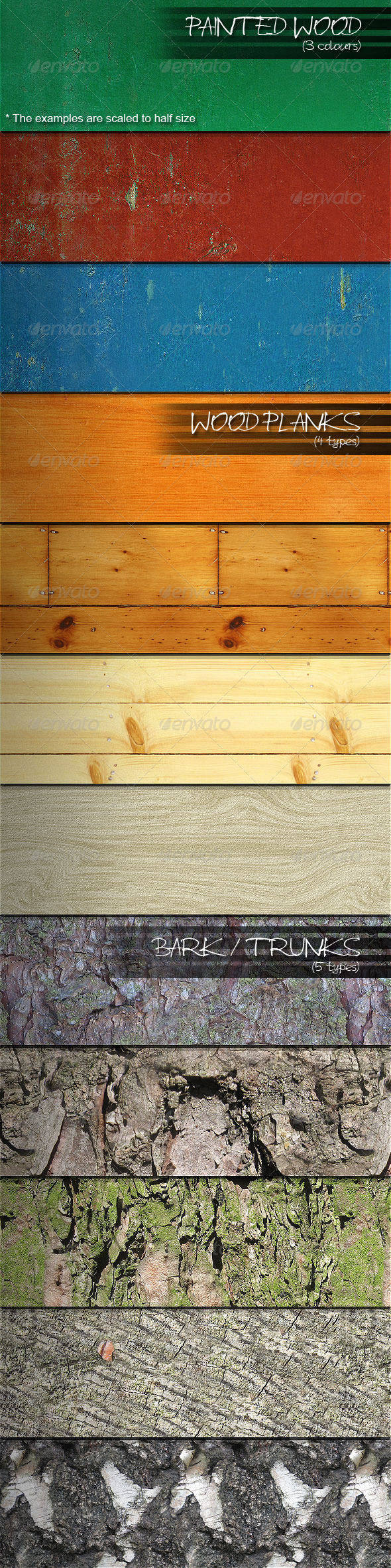 12 Seamless Wood Patterns - Miscellaneous Textures / Fills / Patterns