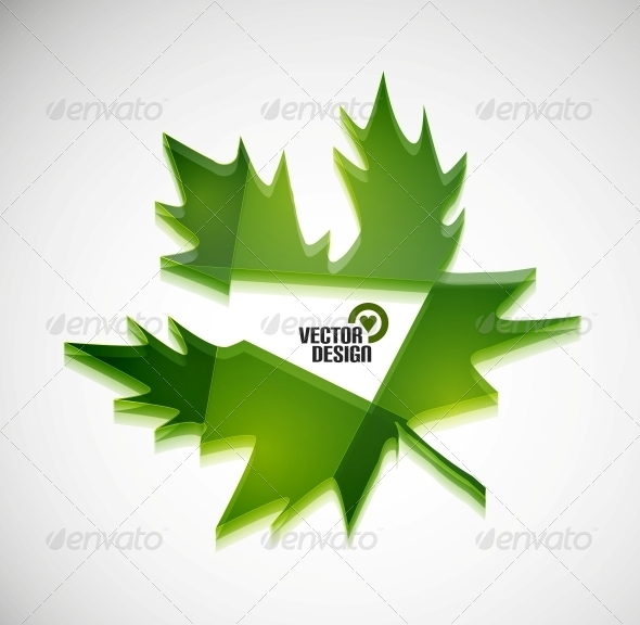 GraphicRiver Vector 3D Green Glossy Leaf 5923399