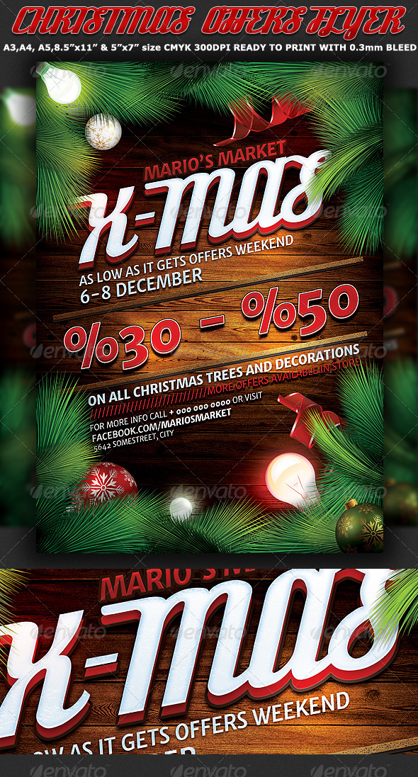 Christmas Offers Flyer-Poster Template - Holidays Events