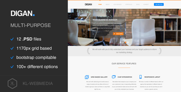 Digan - Multi-Purpose PSD Template - Business Corporate
