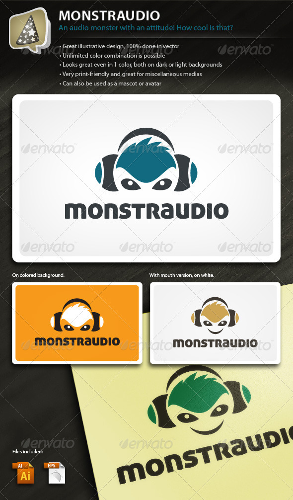 Monstraudio - Illustrative Logo for Your Audio Biz - Humans Logo Templates