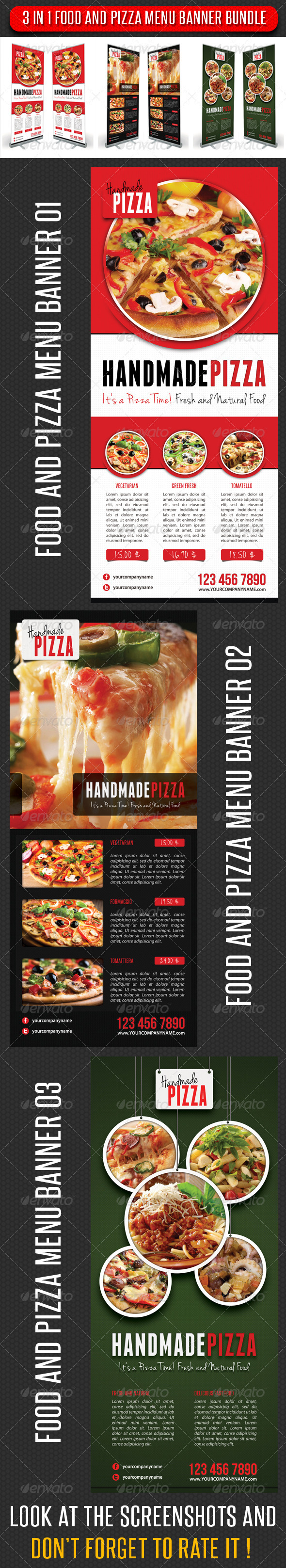 GraphicRiver 3 in 1 Food And Pizza Menu Banner Bundle 5926250