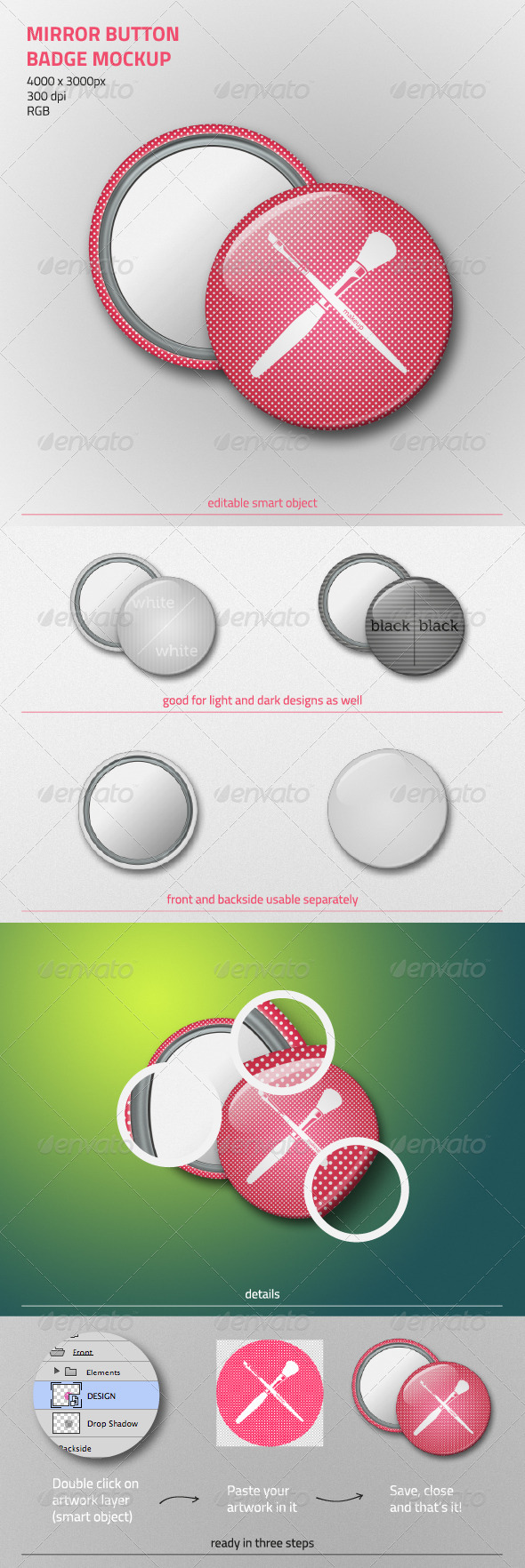 GraphicRiver Mirror Button Badge Mockup 5926272