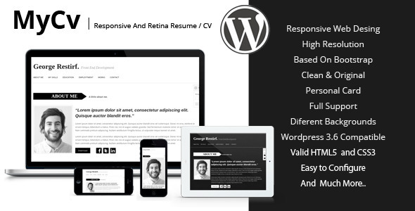 My Cv - Responsive And Retina WordPress theme / CV - Personal Blog / Magazine