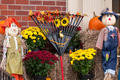 harvest decorations next to a brick building - PhotoDune Item for Sale