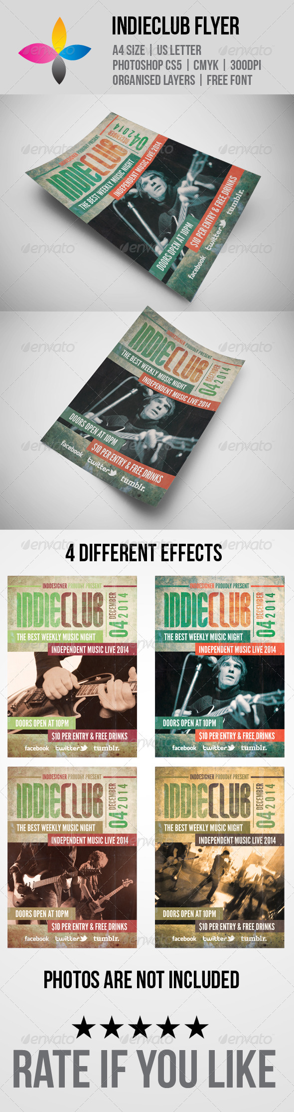 Indie Club Flyer - Concerts Events