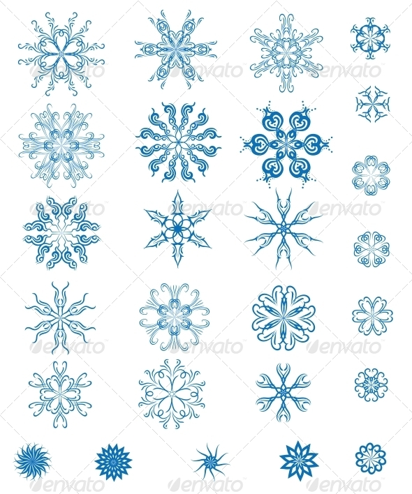GraphicRiver Set of Blue Snowflakes 5927067