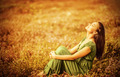 Romantic woman on golden field - PhotoDune Item for Sale