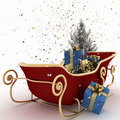 Christmas sledges of Santa with gifts, of confetti and christmas tree - PhotoDune Item for Sale