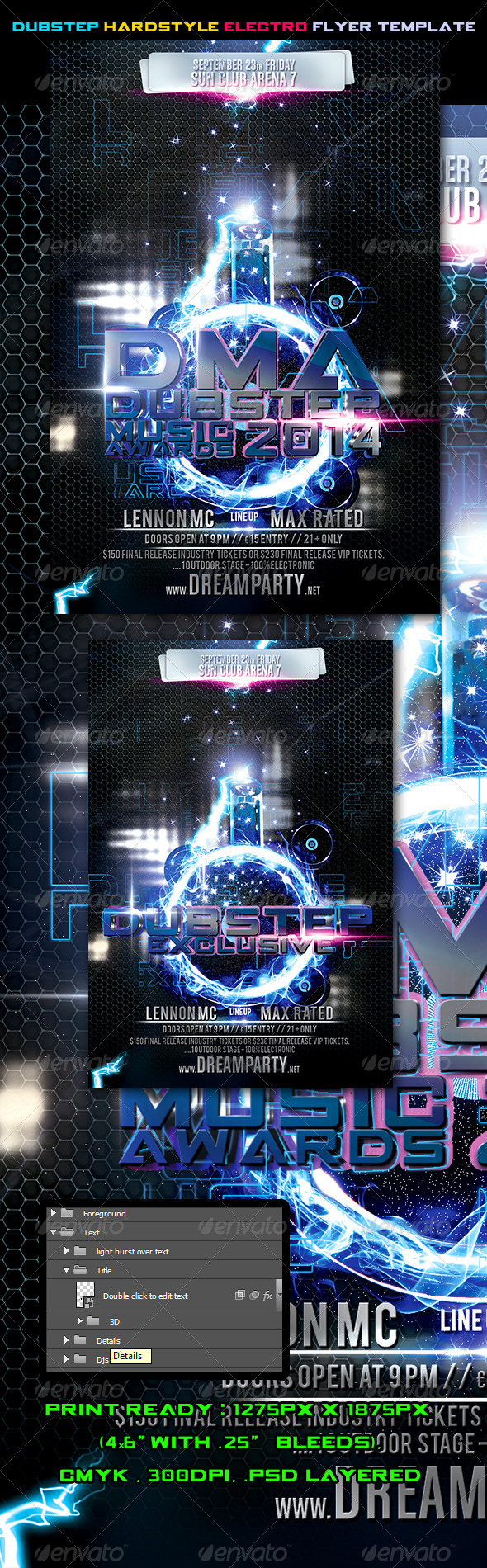 GraphicRiver Dubstep Hardstyle Electro Flyer Template Vol.2 5928607