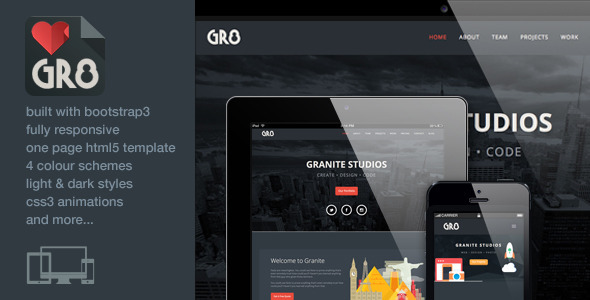 ThemeForest Granite One Page Responsive Bootstrap3 Template 5929341