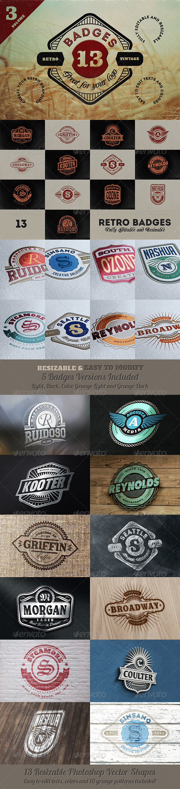 GraphicRiver 13 Retro Signs or Badges v.3 5933902