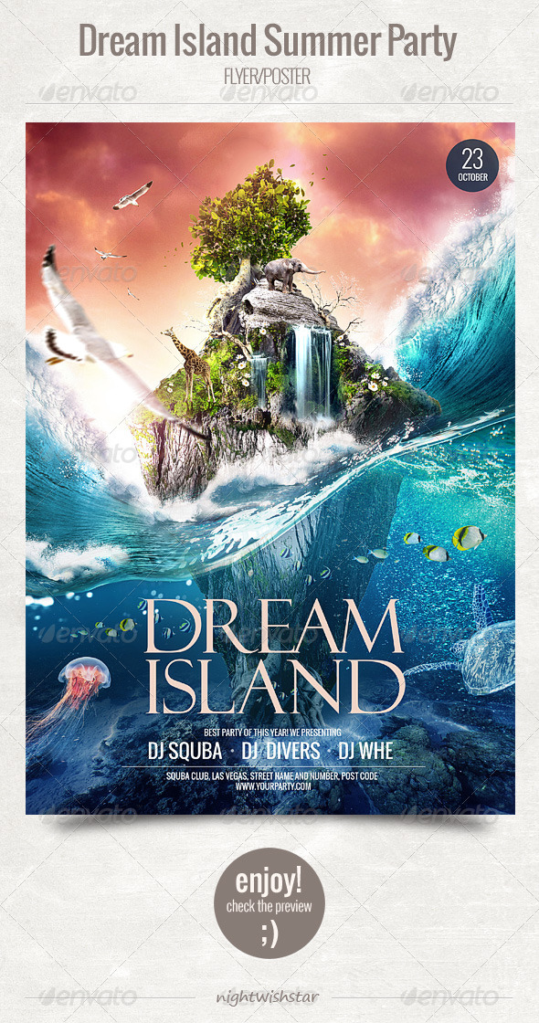 GraphicRiver Dream Island Summer Party Flyer Poster 5933925