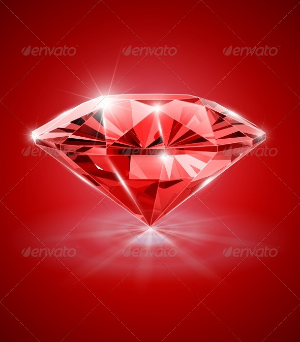 GraphicRiver Diamond on Red Background 5933927