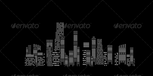 GraphicRiver City Silhouette on Black Background 5934031