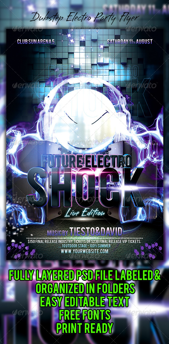GraphicRiver Dubstep Electro Party Flyer 5934390