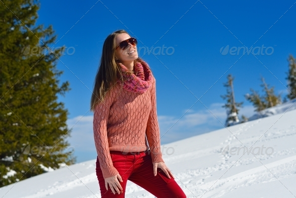 happy woman at winter - Stock Photo - Images