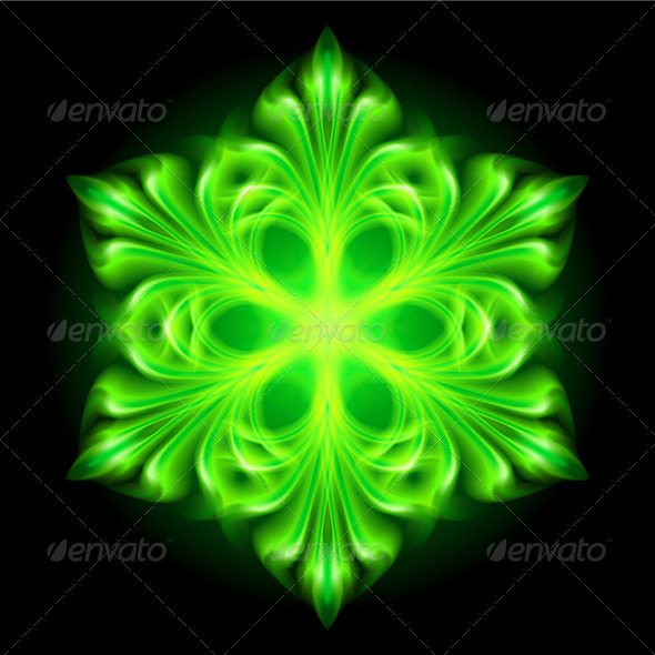 GraphicRiver Green Fire Snowflake 5935820