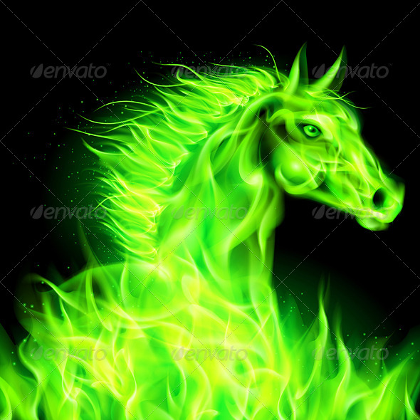 GraphicRiver Green Fire Horse 5936070