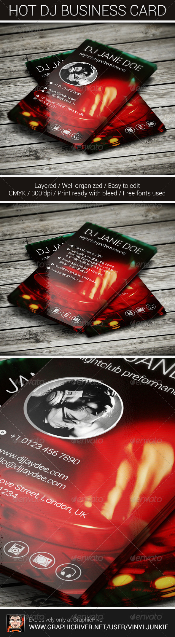 Hot DJ Business Card - Industry Specific Business Cards