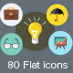 80 Flat Icons - GraphicRiver Item for Sale