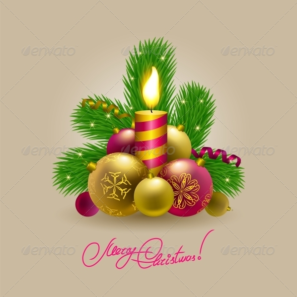 GraphicRiver Background with Baubles Christmas Tree 5939373