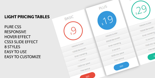 CodeCanyon Light Pricing Tables 5940191