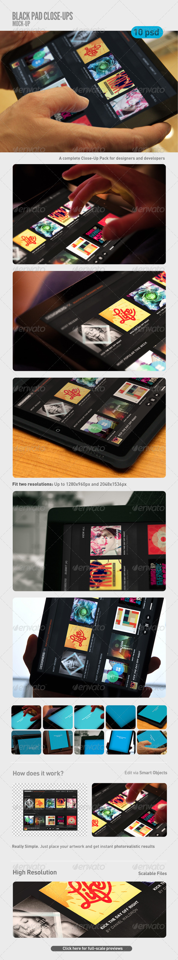 GraphicRiver Black Pad Tablet Close-Up Mock-Up 5940645