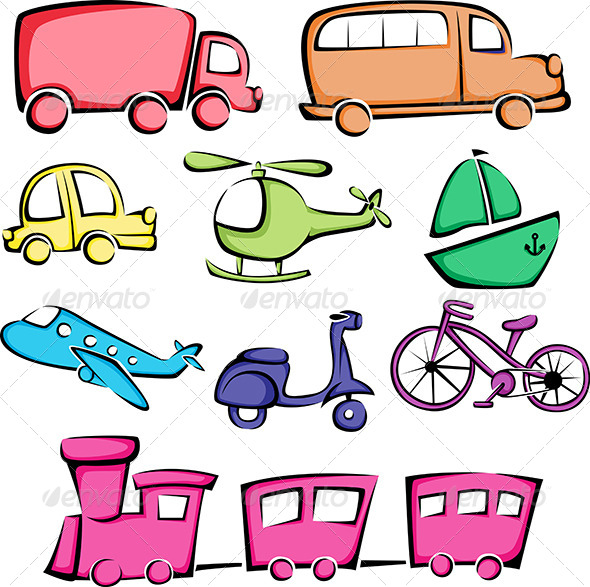 GraphicRiver Transportation Vehicles Icons 5942339